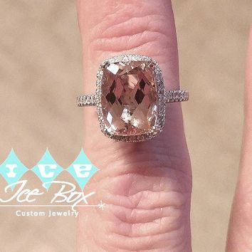 Morganite Engagement Ring  2x10mm, 4.2ct Cushion Cut Morganite Set in a 14K White Gold Halo Setting