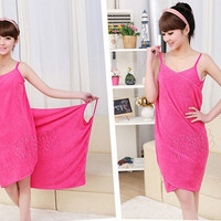 Fashion Sex Women's Magic Bath Towel Dress = 1956685060