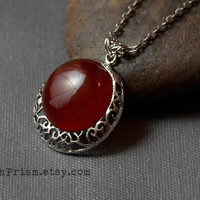 Round Carnelian Pendant | Silver Filigree Pendant |  Red Gemstone necklace | Round Stone | Silver Chain or Black Choker