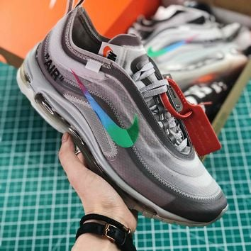 Off White X Nike Air Max 97 Grey Sport Running Shoes - Best Onli 7526dd6db
