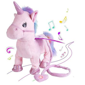35cm Electric Walking Unicorn Plush Toy Stuffed Animal Toy Electronic Music Unicorn Toy for Children Christmas Gifts