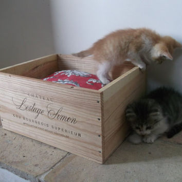 Authentic French Wine Crate Cat Bed by cadeauxdecatherine on Etsy