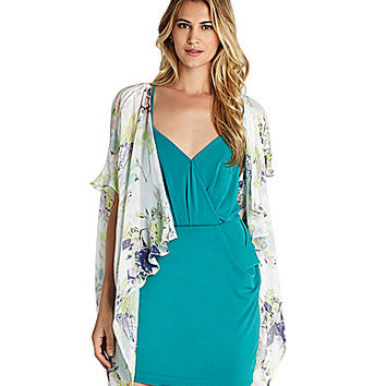 BCBGeneration Digi Bloom Floral-Print Ruffled Kimono - Whisper White/M
