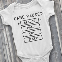 Baby Pause Menu, Gaming Onesuit, gamer onsie, baby gamer, baby, funny Onesuit, baby shower gifts, gaming