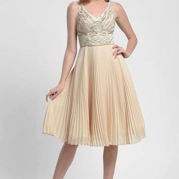 Sue Wong - N4136 Sleeveless Embroidered Accordion Pleat A-Line Dress