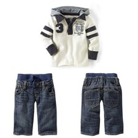 Retail Baby Boys White Long Sleeve Hooded T-Shirt Top + Blue Jeans 2Pcs Set Children Casual Costume Kids Leisure Suits Clothing Outfits