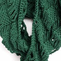 Scarf Infinity Cowl Diamond Crocheted Green