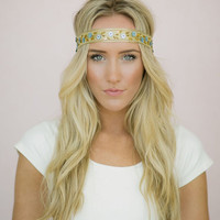 Boho Headband Beaded Hair Bands with Sequin and Floral Beaded Hippie Headband in Gold and Blue - Hip To It Headband(HB-10)