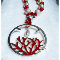 Red Necklace, Ocean Jewelry, Metal Coral Pendant