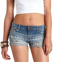 PRINTED & DESTROYED DENIM SHORTS