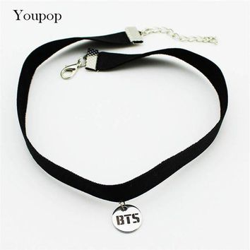 ac NOOW2 Youpop KPOP BTS Bangtan Boys Album Chokers Necklace Korean Fashion Jewelry Accessories Rock Collar For Men Women Boy Girl X5000