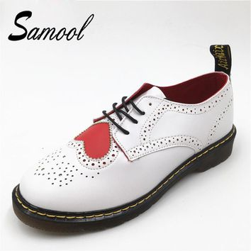 Samool Women Soft Leather Flat Platform Female Shoes Bullock Carved Round Toe Handmade Sping Leisure Oxford Shoes For Women ax4