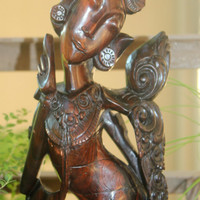 Vintage Home Decor, Carved Ebony Wood Statue, Balinese Dancer, Antique Alchemy