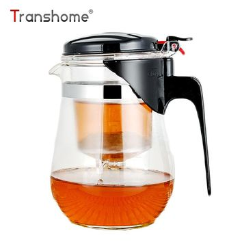 Transhome Gongfu Glass Teaset 750ml Press Auto-open Art Tea Cup Teapot With Infuser Elegant Style Tea Sets Glass Gongfu Teaset
