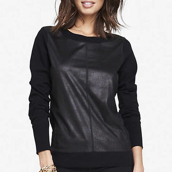 FAUX SUEDE BLOCK ELBOW PATCH SWEATER from EXPRESS