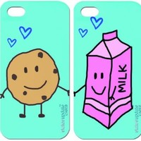 Status Update Cases - 2 pack - Cookies and Milk - TWO FULL IPHONE CASES ONE TO KEEP ONE TO SHARE- Best Friend / Boy Friend Girl Friend - Includes: 2 Interchangeable BackPlates and 2 Bumper-->> Interchangeable Hard Plastic Case for iPhone 5 & 5S : Pick your