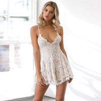 Summer Sexy Lace Playsuits Fashion Ladies Spaghetti Strap Deep V Neck