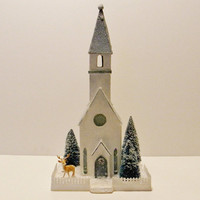 Vintage Putz House Church Pattern & Instructions Christmas Village Glitter House Design
