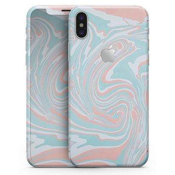 Marbleized Mint and Coral - iPhone X Skin-Kit