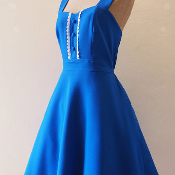 Royal Blue Bridesmaid Dress Vintage Inspired Party Dress Royal Blue Dress Swing Skirt Dress -XS-XL,Custom