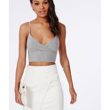 Missguided - Jersey Wrap Over Bralet Grey