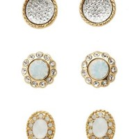 Luxe Jeweled Stud Earrings - 3 Pack by Charlotte Russe - Gold
