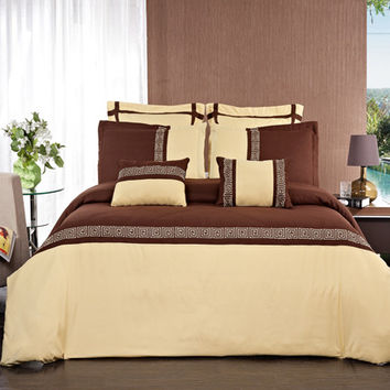 Astrid Gold/Chocolate Embroidered 7 Piece Duvet Cover Set