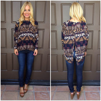 Aristotle Aztec Print Button Back Sweater - MOCHA