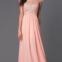 Floor Length Cap Sleeve Prom Dress