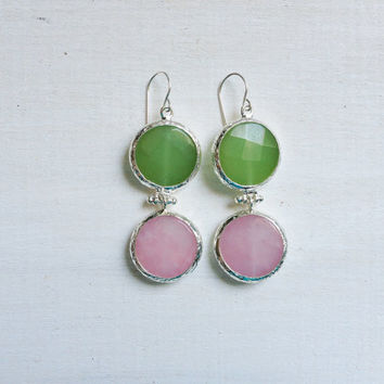 LARGE dangle long  DUAL light apple green and rose pastel pink gemstone earringssilver gemstone earrings Israel jewelry