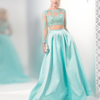 COLORS 1493 In Stock SZ 8 Aqua Mikado Lace Long Sleeve Two Piece Prom Dress