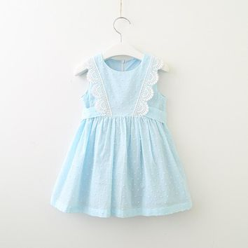 Hurave lace work solid cotton infant Baby Girls Clothes Children Sleeveless Crew Neck dress causal drawstring dresses
