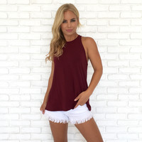 Trapeze Open Back Jersey Top In Wine