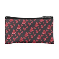 Glitter Hearts Print Makeup Bag