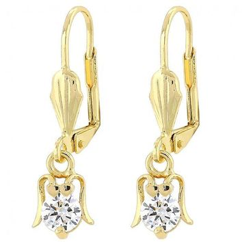 Gold Layered Dangle Earring, Ladybug Design, with Cubic Zirconia, Gold Tone