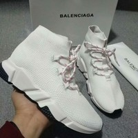 2020 new cheap Balenciaga Stylish Women Men Casual Speed Stretch Knit Socks Shoes top quality white