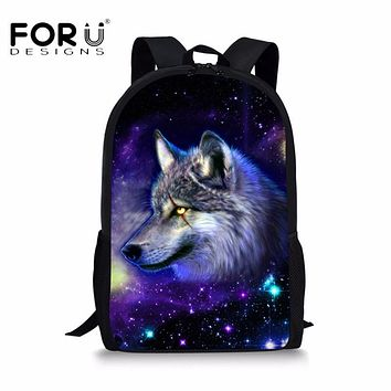 FORUDESIGNS Universe Galaxy Animal School Bags for Children Big Capacity Teens Boys Girls Bookbag 3D Wolf Owl Printing Backpacks