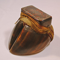 Antique Hoof Snuff Box, Georgian Hoof And Buhl Papier Mache Snuff Box