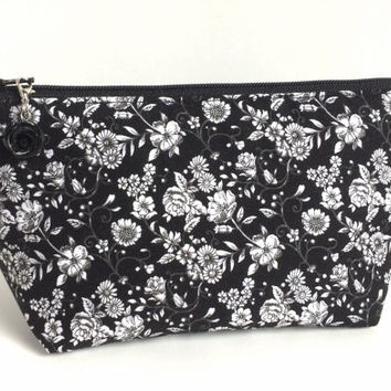 Small Black Floral Makeup Bag, Black and White Cosmetic Bag, Small Floral Zipper Pouch, Black and White Purse Pouch, Small Makeup Bag