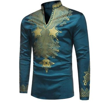 Teal and Gold Mens Hipster African Dashiki Longline Shirt
