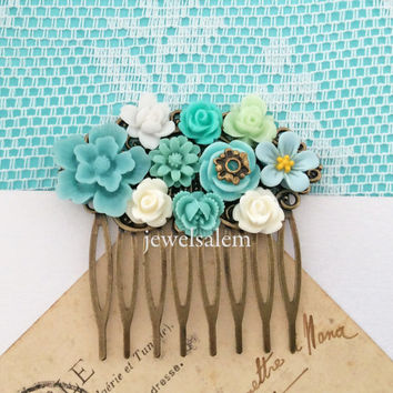 Bridal Hair Comb Turquoise Blue Wedding Floral Headpiece White Mint Aqua Teal Flower Collage Shabby Chic Romantic Vintage Style Woodland WR