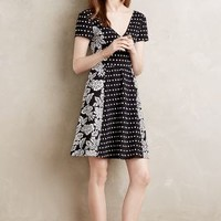 Maeve Dotted Fleur Dress in Black & White Size: