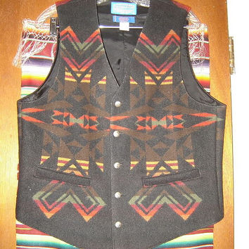 Mens Vintage Pendleton High Grade Western Wear Indian Blanket Vest M Medium