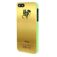 Harry Potter Logo In Gold Texture iPhone 5 Case Framed Green