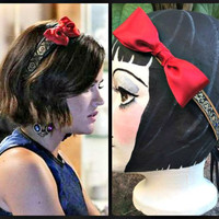 Red Bow Headband, Black Headband, Gold Headband, Pretty Little Liars, Aria Montgomery, Bow Hair Band, Ribbon Headband, Bow Hair Piece