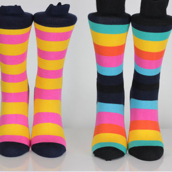 Multi Color Striped Unisex Socks Happy Socks Mens Socks Groomsmen Trend Fun Color Socks Boys Socks Birthday Gift Fashion Socks Gift For Men