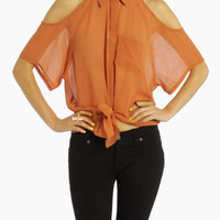 Panel Shoulder Knotted Blouse in Rust