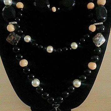 Black Agate and Pearl Statement Necklace