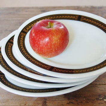 Pyrex Ebony Snack Plates, Set of 4 Pyrex Ebony Oval Milk Glass Side Plates Black Gold Fleur de Lis, Vintage Kitchen Mid Century