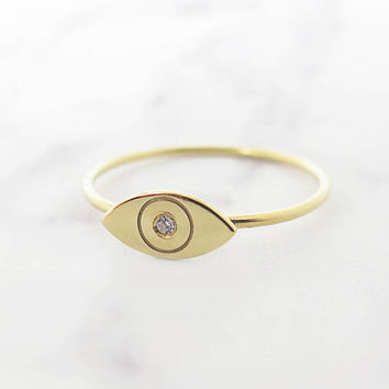Gold evil eye ring, 14K Evil eye ring, Delicate evil eye ring, Delicate diamond ring, Diamond evil eye ring, Minimal evil eye ring, Dainty